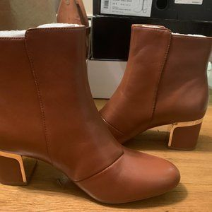 DKNY Crosbi Brown Leather Almond Toes Ankle Boots